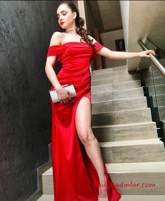 2019 Uzun Abiye Modelleri Kirmizi Uzun Straplez Dusuk Kol Derin Yirtmacli Resmi Elbise Moda Stilleri The Dress