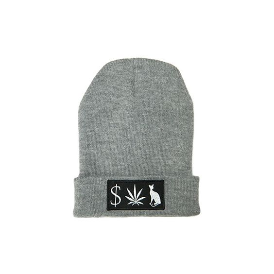 Classy Brand MONEY WEED PUSSY CAT Beanie in Heather ($14) ❤ liked on Polyvore featuring mens, men's accessories, men's hats, hats, accessories, beanies, bonnet and heather gray