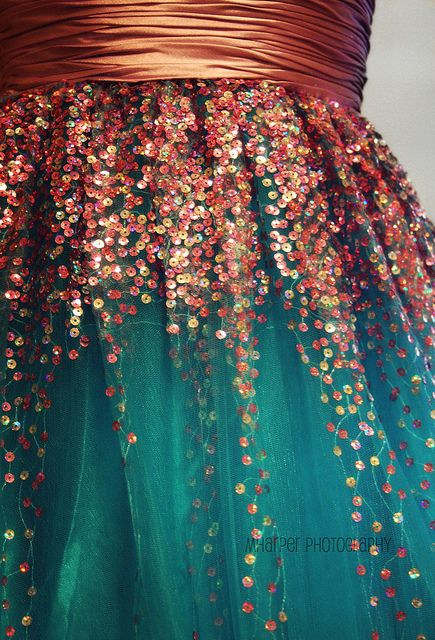 sequins... glitter and sparkle... teal and copper together... pretty prom dresses...: