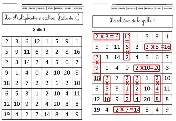Ce1 les multiplications cach es tables 2 3 4 5 blog de for Les tables de multiplications ce1