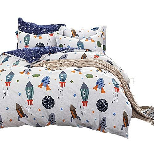 Clothknow Boys Duvet Cover Twin Kids Space Rocket Print Bedding Sets 100 Cotton White And Purple Univers Kids Comforter Sets Boys Duvet Cover Duvet Covers Twin