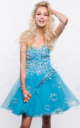 Short strapless hand beaded prom dress- LXO2831