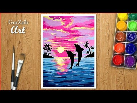 How To Draw Beautiful Painting With Poster Colors Very Easy Step By Step For Beginners And Kids Youtu Poster Color Painting Beautiful Paintings Painting