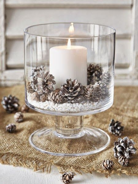 Scandinavian Christmas - Hurricane bowl with white pillar candles and frosted pine cones with white stone chips as a base