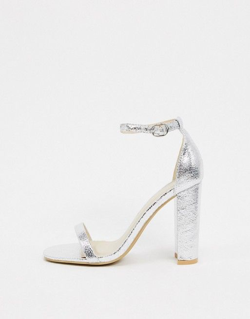 Glamorous Silver Barely There Square Toe Block Heeled Sandals Asos In 2020 Sandals Heels Gold Block Heel Sandals Platform Sandals Heels