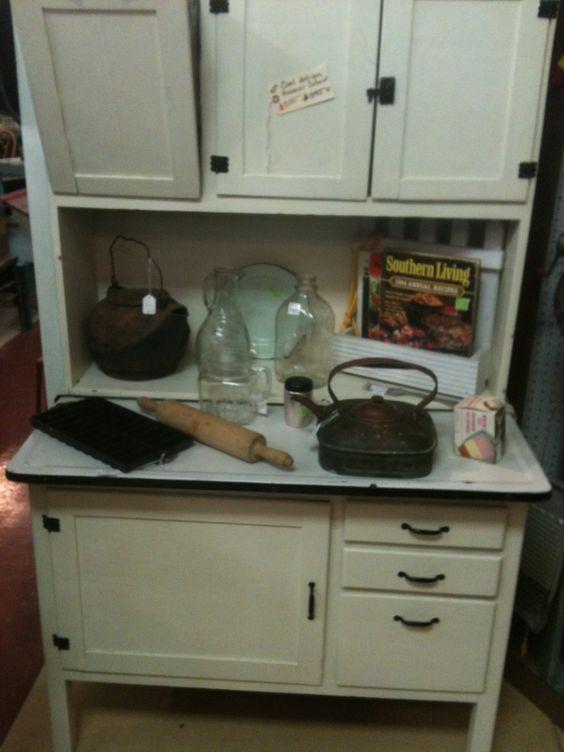 antique hoosier cabinet with metal flour bin and metal bread drawer