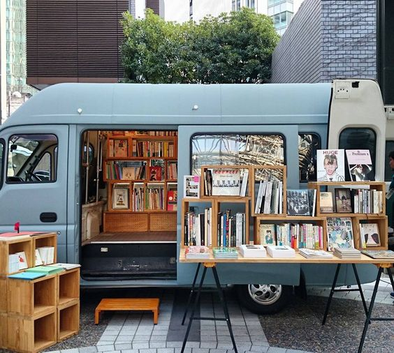 Book Truck #bookmobile - to be seen in Tokyo and Yokohama #books    I would love to do this in Maine!: