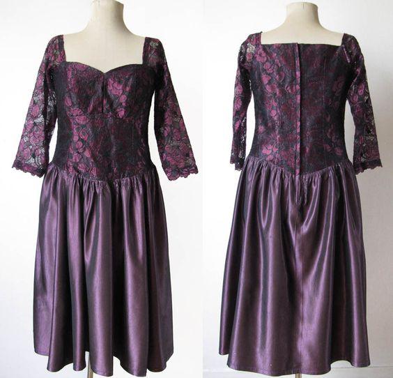 Vintage 1980 Robe dentelle noire et prune