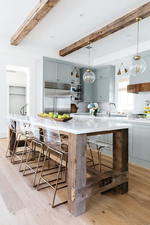 Brass And Glass Globe Sconces Are Mounted To A Rustic Wood Beam And Light A Gray Island Positioned In Front Of A In 2020 Wood Kitchen Island Kitchen Decor Wood Kitchen
