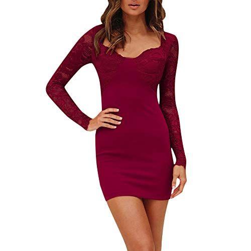 huge discount be171 7ebfc Weant Vestito Aderente Vestito Pizzo Donna Autunno Inverno ...