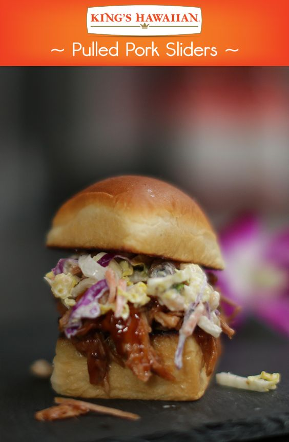 Sliders are a staple for any get together especially a #HawaiianFoodsWeek one. Add some Aloha Spirit to any pulled pork slider with KING'S HAWAIIAN Smoked Bacon BBQ Sauce, Dole pineapple chunks and Mauna Loa Dry Roasted Macadamia Nuts.