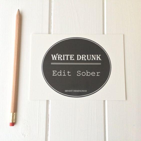 Ernest Hemingway Quote Postcard 'Write Drunk, Edit Sober'