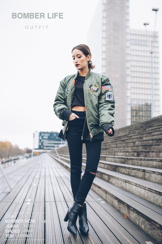 army, green, patched, bomber, jacket | flight jackets | Pinterest ...