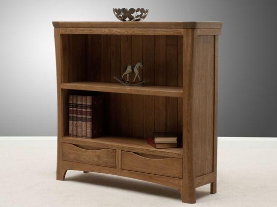 Wonderful Low Wide Open Oak Bookcase  457165  Sellingantiquescouk