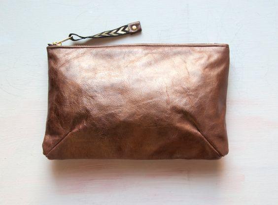 Bronze Leather Clutch by GiftShopBrooklyn on Etsy