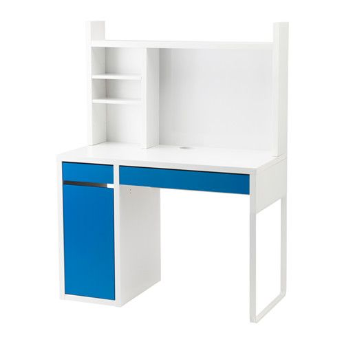 ikea micke poste de travail blanc bleu blanc vous. Black Bedroom Furniture Sets. Home Design Ideas