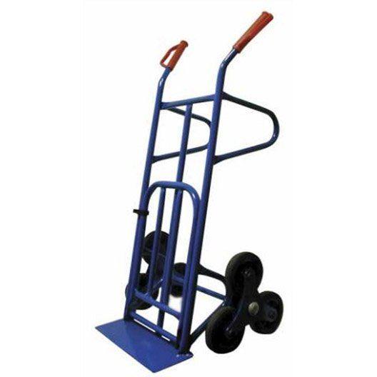 Diable spécial escalier à 6 roues rigides pouvant supporter une charge de 250kg, avec une bavette repliable de 51cm sur 32cm. Poids à vide: 17,8kg