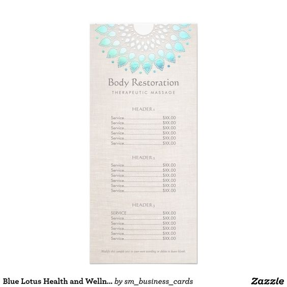 Blue lotus health and wellness price list menu rack card for F salon jaipur price list
