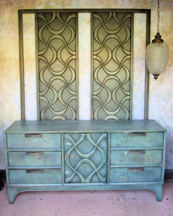Rare & Stunning HIGH Headboard/ Dresser Set made by Stanley - Sold to Stanley for their Heritage Collection Restorations on Etsy, $700.00