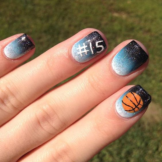 """""""i added some designs to my gradient for my basketball game (-:"""" Photo taken by @_nailsbybelle on Instagram, pinned via the InstaPin iOS App! http://www.instapinapp.com (09/16/2015)"""