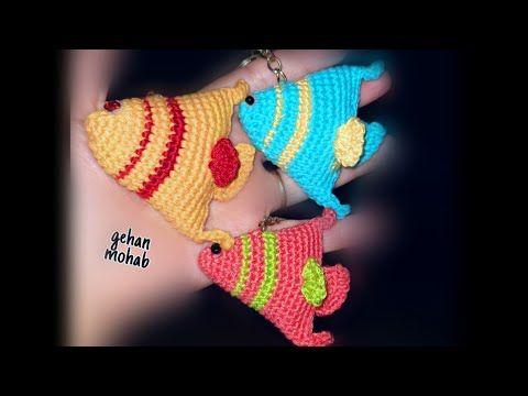 طريقة عمل ميدالية على شكل سمكة زينة كروشيه2 Fish Key Holder Crochet Youtube Holiday Decor Christmas Ornaments Novelty Christmas
