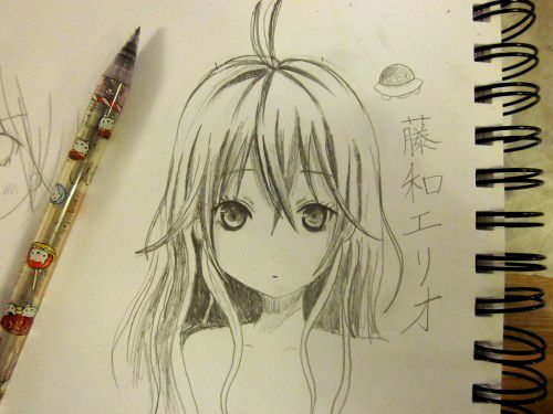 ANIME ART Anime Girl Long Hair Pretty Japanese Pencil Graphite Drawing Doodle Moe Cute Kawaii