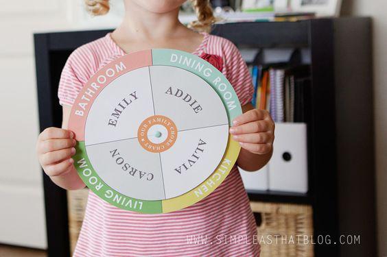 Free printable checklist chore chart and circle spinner