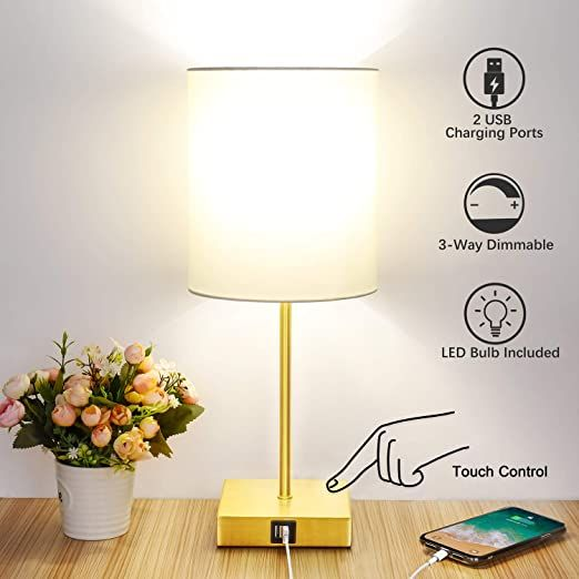 Touch Control Table Lamp 3 Way Dimmable 2 Usb Fast Charging Ports Bedside Nightstand Lamp With Tc Cloth Shade For In 2020 Bedside Night Stands Lamp Nightstand Lamp