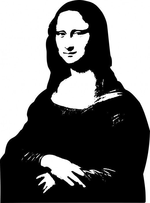 Mona Lisa Simplified Into A Two Value Image Black And White Art Drawing Silhouette Art Mona Lisa Drawing