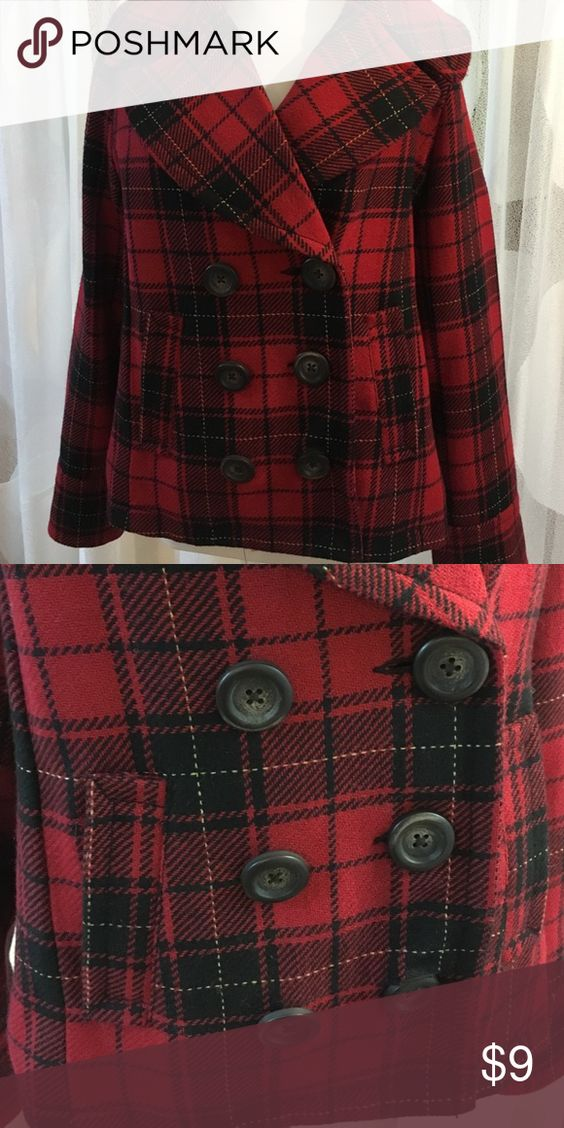 Red plaid jacket Red plaid peacoat style jacket. Side pockets. Size medium but relaxed fit. Offers always welcome 💛 Merona Jackets & Coats Pea Coats
