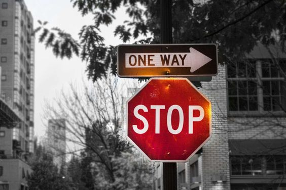 #black and white #monochrome #monochrome photography #one way #sign #stop #stop sign #street #traffic
