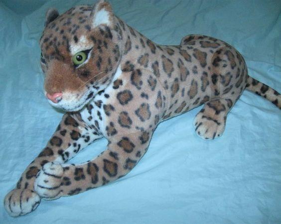 Giant Stuffed Animals | Kellytoy Large Plush Stuffed Jaguar Leopard Big Cat Animal About 26 ...