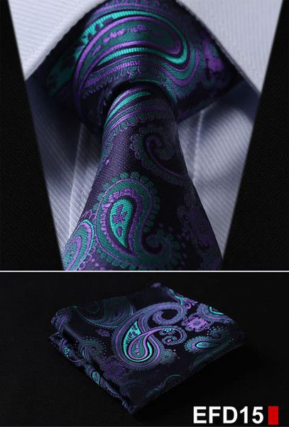 100%Silk Jacquard Woven Men Tie Necktie Pocket Square Set - Eye for A Tie: