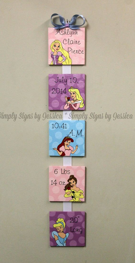 Disney Princess Custom Birth Announcement by SimplySignsByJess