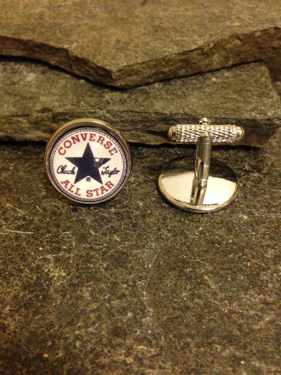 Converse Cufflinks Tie Clip Lapel Pin Tie Tack by JrocksJewelry
