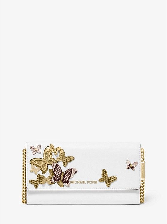 Large Butterfly Embellished Leather Convertible Chain Wallet Michael Kors Handtaschen Michael Kors Brieftasche Michael Kors Umhangetasche