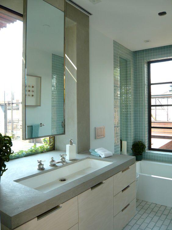 Modern Manhattan Bathroom, Stedila Design, SDI, Bath, Contemporary, glass tile, Waterworks bath fixtures, Mirror in front of window, sliding mirror, penthouse, New York City, Interior Design