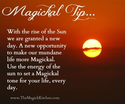 The Magick Kitchen Rising Sun Magickal Tip