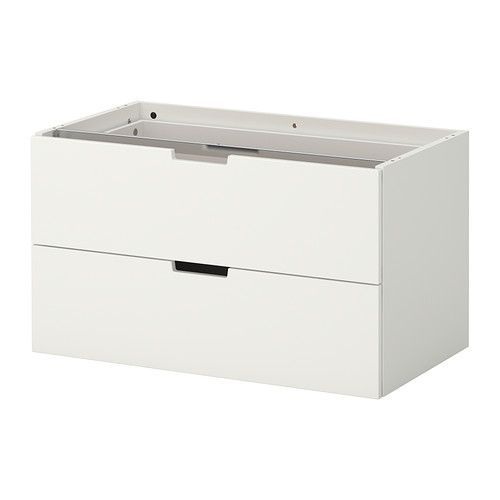 $100 IKEA - NORDLI, Modular chest of 2 drawers, white, 80x45 cm, , You can use one modular chest of drawers or combine several to get a storage solution that perfectly suits your space.Integrated damper catches the running drawer and closes it slowly, silently and softly.Adjustable feet make it possible to compensate any irregularities in the floor.