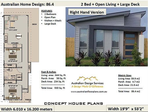 86 4 Skillion 2 Bed House Plan 59 9 M2 Living Concept House Plans Bedroom House Plans House Plans 2 Bedroom House Plans