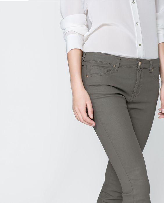 pantal n skinny coated pantalones mujer zara espa a. Black Bedroom Furniture Sets. Home Design Ideas
