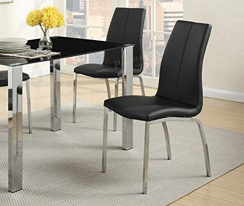 Set Of 2 Modern Black Faux Leather Dining Chairs With Chrome Metal