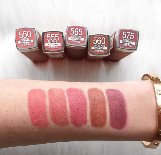 "Maybelline New York on Instagram: ""💄 💋 @laurenslist 🇨🇦 swatches some of our NEW #intimattenudes lipsticks. Which shade is your favorite? From left to right: 'honey pink'…"""