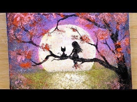 Hoe Teken Je Een Meisje En Een Kat Die Naar De Volle Maan Kijken Speciale Schildertechniek Youtube Painting Moonlight Painting Drawings