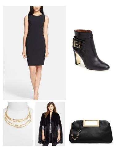 A chic black sheath works for every occasion.  Mix it with a dressy boot to give it a modern look.