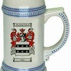 Flack english Coat of Arms / Family Crest stein mug