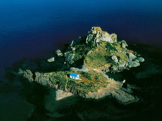 Chapel on an islet off the coast of Kos Dodecanese Greece
