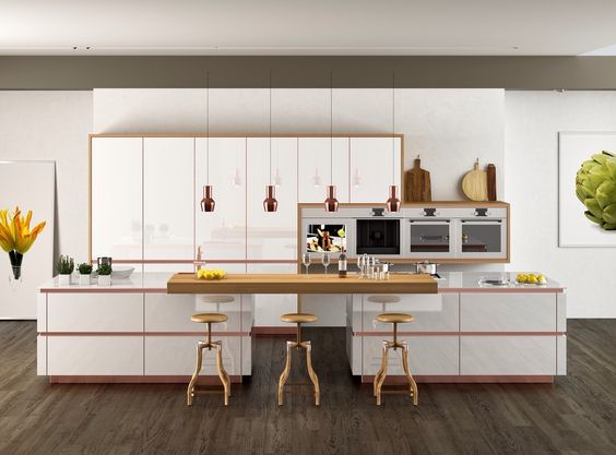 zeyko kitchens using copper trims and plinths on this handleless - häcker küchen bewertung