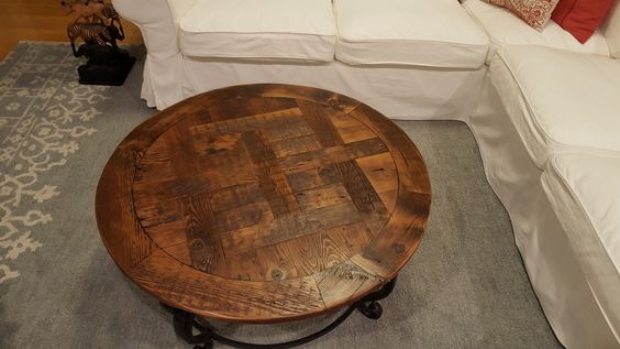 Custom Iron And Reclaimed Wood Parquet Coffee Table Built By Concepts Created In Staunton