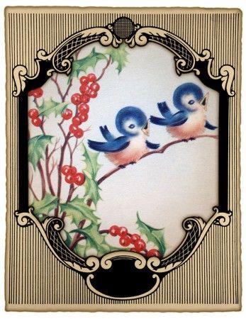 Bluebird and holly card